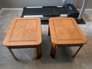 2 wooden end tables.