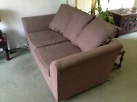 2 Brown fabric 3 seater sofas £25 each