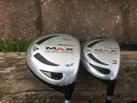 Dunlop Max Driver and 3 wood.