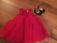 Red tuille holiday dress with black patent shoes 12months