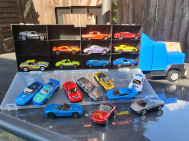 Truck filled with toy cars.