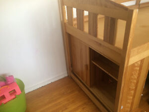 Single bunk bed with pull out desk, dresser and cupboards