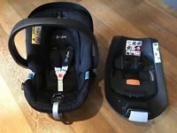 Cybex Aton car seat, Cybex Isofix base and two buggy adopters for bugaboo bee