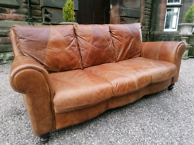 Stunning Leather DFS Large Tan Sofa and Armchair With Delivery.