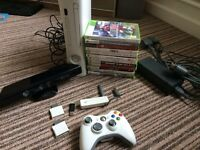 X box 360 console, Kinect, 12 games, wifi connector, controller and 2 memory cards