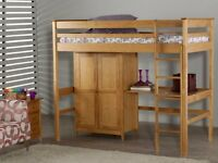 High Sleeper Bed, with: Desk, Wardrobe and Quality Sprung-Mattress - Very Solid Pine