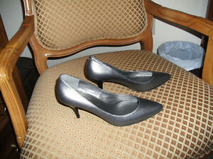 New Leather Silver Heels