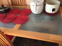 £90 pine table with glass