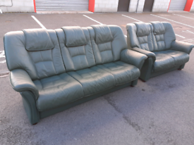 Green Leather 2&3 Seater Sofas