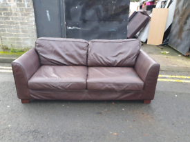 1. Brown leather 3 seater sofa