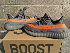 YEEZY BOOST 350 V2 REPS GREY WITH ORANGE SIZE 13 & 12.5