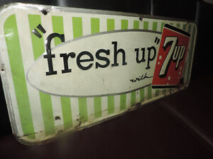 "!7UP! ""fresh up"" with 7up tin corner store sign"