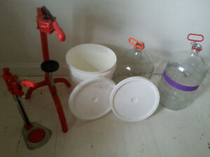 Brewing supplies. Carboys, pail, hoses, cappers, corkers, etc.