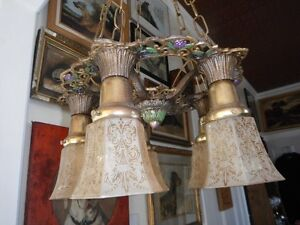 Lovely Vintage  Antique Brass Chandelier 6