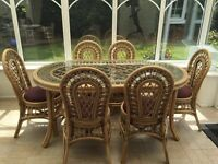 Cane dining table with 6 chairs *REDUCED*