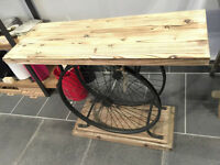 Wood Grain Bicycle Wheel Console Table
