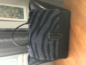 Patent Leather and Zebra Stripe Italian Leather Purse Satchel