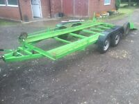Car transporter trailer, twin axle, braked, flatbed