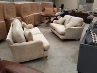 Brand new beige designer 3+2 sofa suite