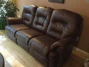 Elran Soft Brown Leather Reclining Couch and Chair - Premium