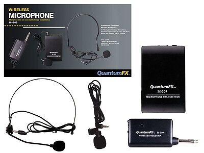 NEW QFX M-309 Two Wireless Microphones Karaoke/PA System +Lapel Mic +Headset Mic