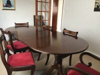Extendable Mahogany table, six chairs and cabinet