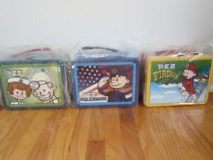 2002 Toy Pez Candy Metal Lunchboxes Policeman, Fireman, Doctor