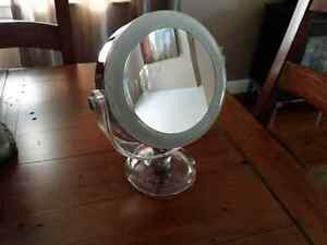 Lighted 10x magnification mirror