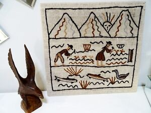 FOLK ART STITCHERY amish WORKING in the FIELDS fish duck SIGNED