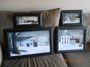 4 wood frame, artist Billy Jacobs pictures of winter scenes