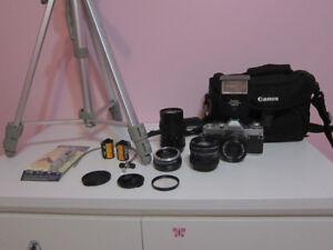 Canon AV-1 Film Camera 3 Lenses, Flash, Bag, Film, Tripod