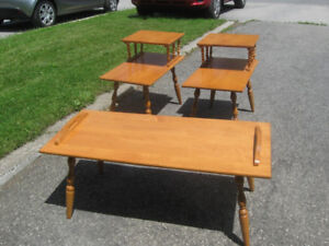 Mid-Century Colonial Maple Coffee Table and End Table Set