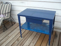 Vintage Two Tier Solid Steel Work Table w Drawer