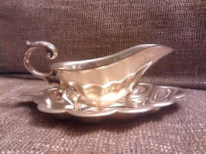 Silver sauce boat & saucer