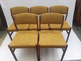 Vintage retro Danish teak wooden mid century kitchen dining chairs x 5