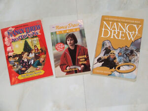 Three different Nancy Drew paperbacks by Carolyn Keene