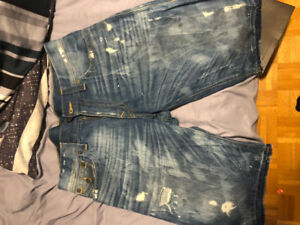 True Religion Denim Shorts Ricky Relaxed Straight Sz 33