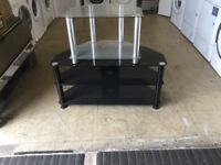 Pair of glass tv stands black and clear