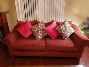 Red Fabric Couch Set - 2 PCS