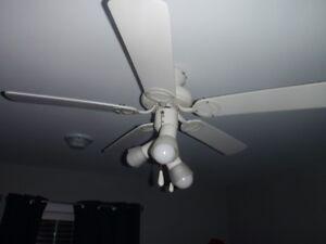 """42"""" 5 Blade 3 Light Ceiling Fan White"""