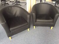 2 x Reception tub chairs in leather faux. Delivery.