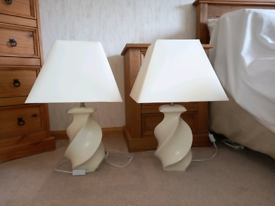 2 cream lamps with shades