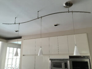 3 Light Island Pendant in Stainless Finish with Opal White Glass