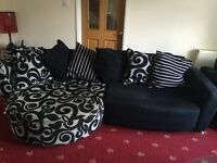 Lovely dfs sofa and chair in black with pattern