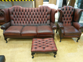 FREE DELIVERY Chesterfield Queen Anne oxblood 3+1+footstool suite