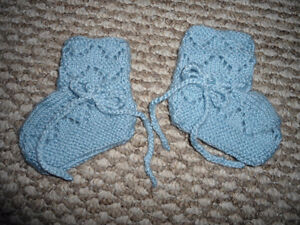 Hand Made Blue Booties - never worn