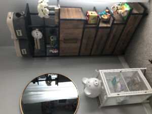 Industrial wood and metal tall dresser/bookcase shelving unit