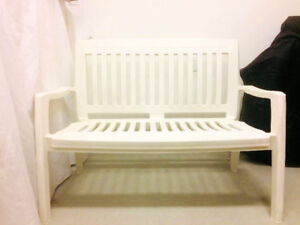 Patio bench with 4 chairs
