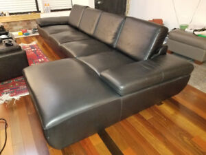 LUXURY Black Leather Mid Century Modern low Sectional Couch