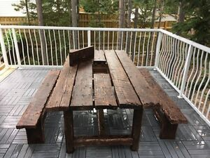 Patio table and bench seats w/ hide away cooler